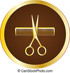 hairdresser sign with scissors - dark brown hairdresser sign...