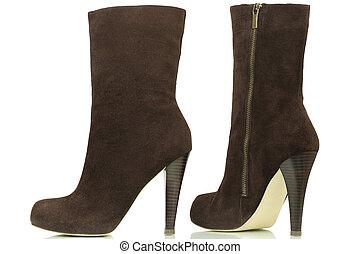 Dark brown high-heeled boots