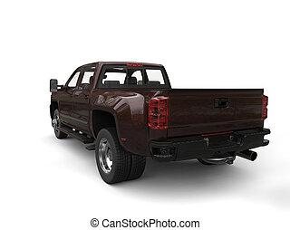 Dark brown modern pickup truck - back view