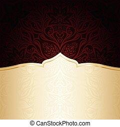 Dark Brown Red wallpaper vector invitation mandala design background