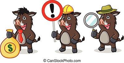 Dark Brown Wild Pig Mascot with money