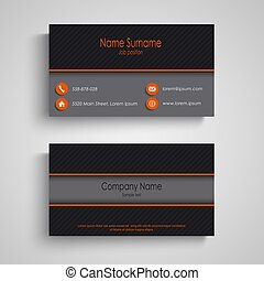 Dark business card with orange elements template