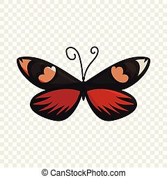 Dark butterfly icon, cartoon style