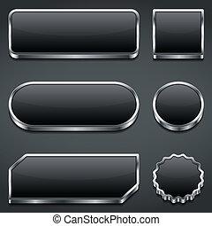 Set of blank dark buttons, vector eps10 illustration
