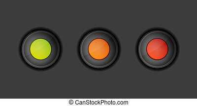 dark buttons with green, orange and red color