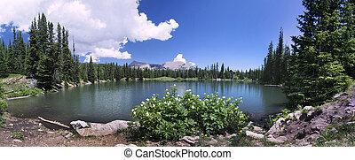 Dark Canyon lake in Utah Panoramic