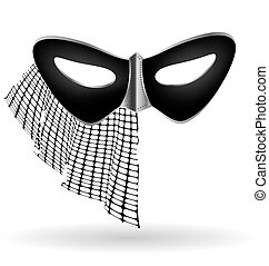 dark carnival mask with veil
