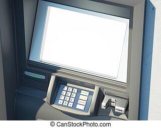 Dark cash machine with blank screen. 3d rendering