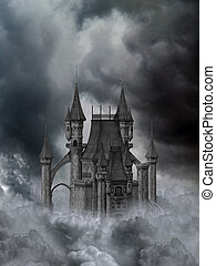 a dark gothic castle in the clouds