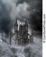 Dark Castle - a dark gothic castle in the clouds