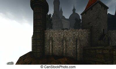 Dark castle animation with dramatic sky