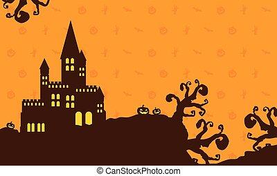 Dark castle background for Halloween