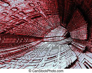 Dark cavern - abstract digitally generated image