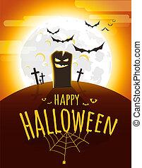 Dark cemetery in a full moon. Happy Halloween vector banner