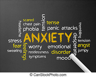 Anxiety - Dark chalkboard with a Anxiety word illustration.