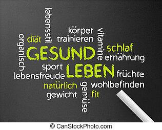 Gesund Leben - Dark chalkboard with a Gesund Leben word...