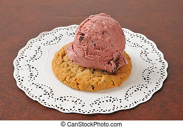 Dark cherry chocolate chip ice cream on a cookie