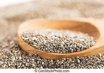 Dark Chia Seeds On Wooden Spoon