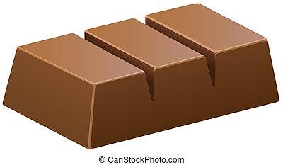 Dark chocolate bar on white illustration