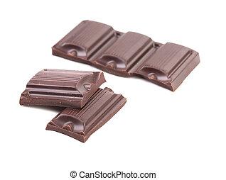 Dark chocolate bars isolated on white background