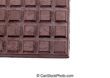 dark chocolate bars isolated on white background.