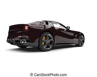 Dark chocolate brown modern fast sports concept car - tail view