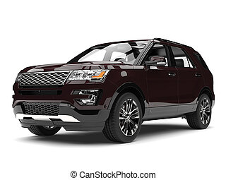 Dark chocolate brown modern SUV - front view closeup shot