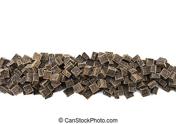 Dark Chocolate Chunks in Row on Isolated White
