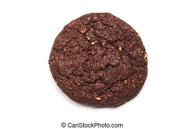 Homemade dark chocolate cookie with almond isolated on white.