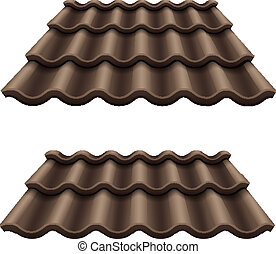 Dark chocolate corrugated tile element of roof