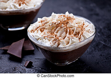 Dark Chocolate Mousse With Whipped Cream And Cinnamon