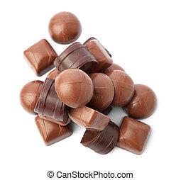 Dark chocolate on a white background