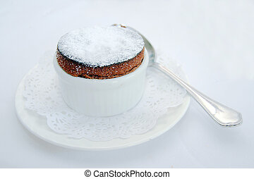 chocolate souffle - dark chocolate souffle served as a...