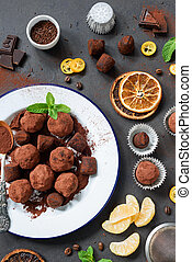 Dark chocolate truffle with orange peel