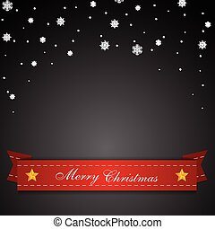 Dark Christmas background with red ribbon