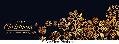 dark christmas banner with golden snowflakes