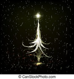 Christmas card with a dull, glossy abstract tree with a mirror image.