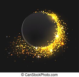 Dark circle on a black background with golden sparkles.