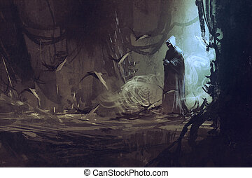dark cloak in mysterious forest, wizard, sorcerer, illustration