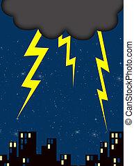 lightning - dark cloud and lightning on a nightime city sky