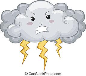Dark Cloud Mascot with Lightning