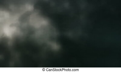 Dark Clouds, Lightning Slow Motion - Looping animation of a...