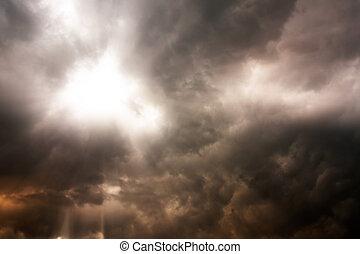 Dark clouds on rainy days.
