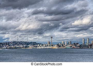 Dark Clouds Over City
