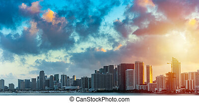 Dark clouds over downtown Miami at sunset
