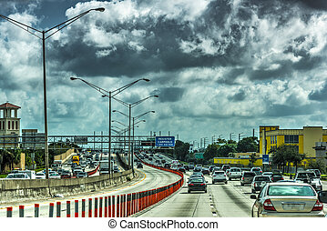 Dark clouds over the highway in Miami