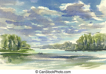 dark clouds over the lake watercolor