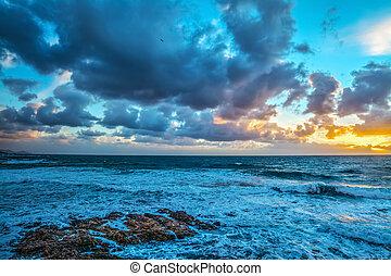 Dark clouds over the sea in Sardinia