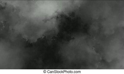 dark clouds & smoke slowly flying