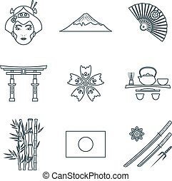 dark color outline various japan icons set - vector dark...